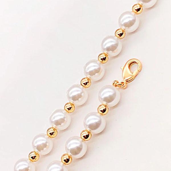 Браслет Xuping Jewelry 20 см х 7,5 мм С жемчужинками на цепочке медицинское золото позолота 18К А/В 4-0092