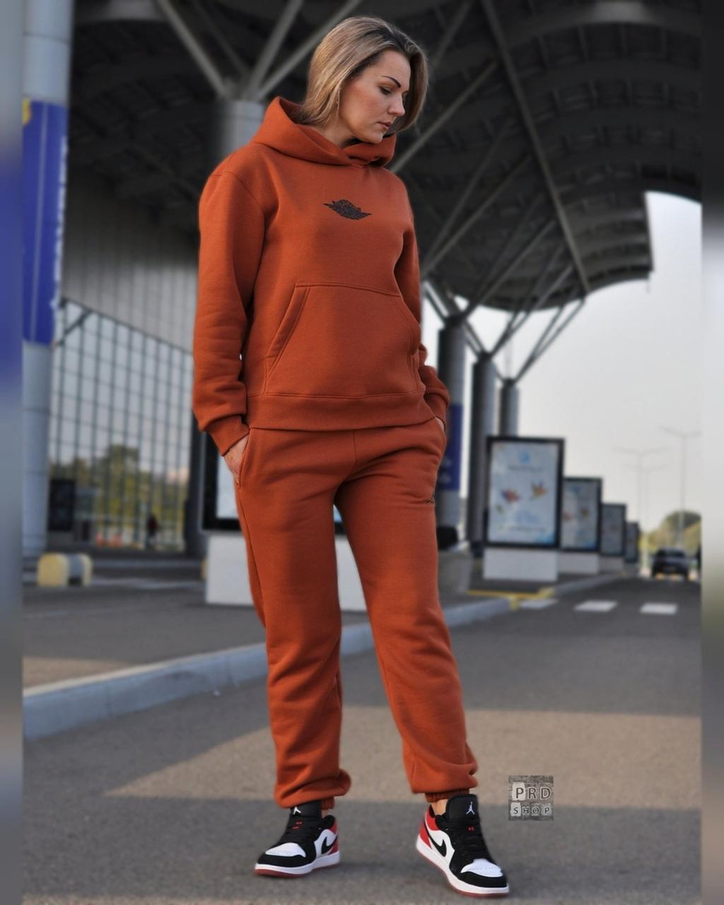 Женский теплый спортивный костюм трёхнить c начесом худи и штаны на манжете
