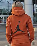 Женский теплый спортивный костюм трёхнить c начесом худи и штаны на манжете, фото 4