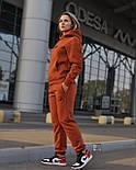Женский теплый спортивный костюм трёхнить c начесом худи и штаны на манжете, фото 2