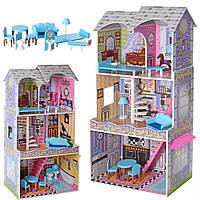 Кукольный домик (119 см) с мебелью Bambi MD 2412 | Деревянный 3х этажный домик для кукол