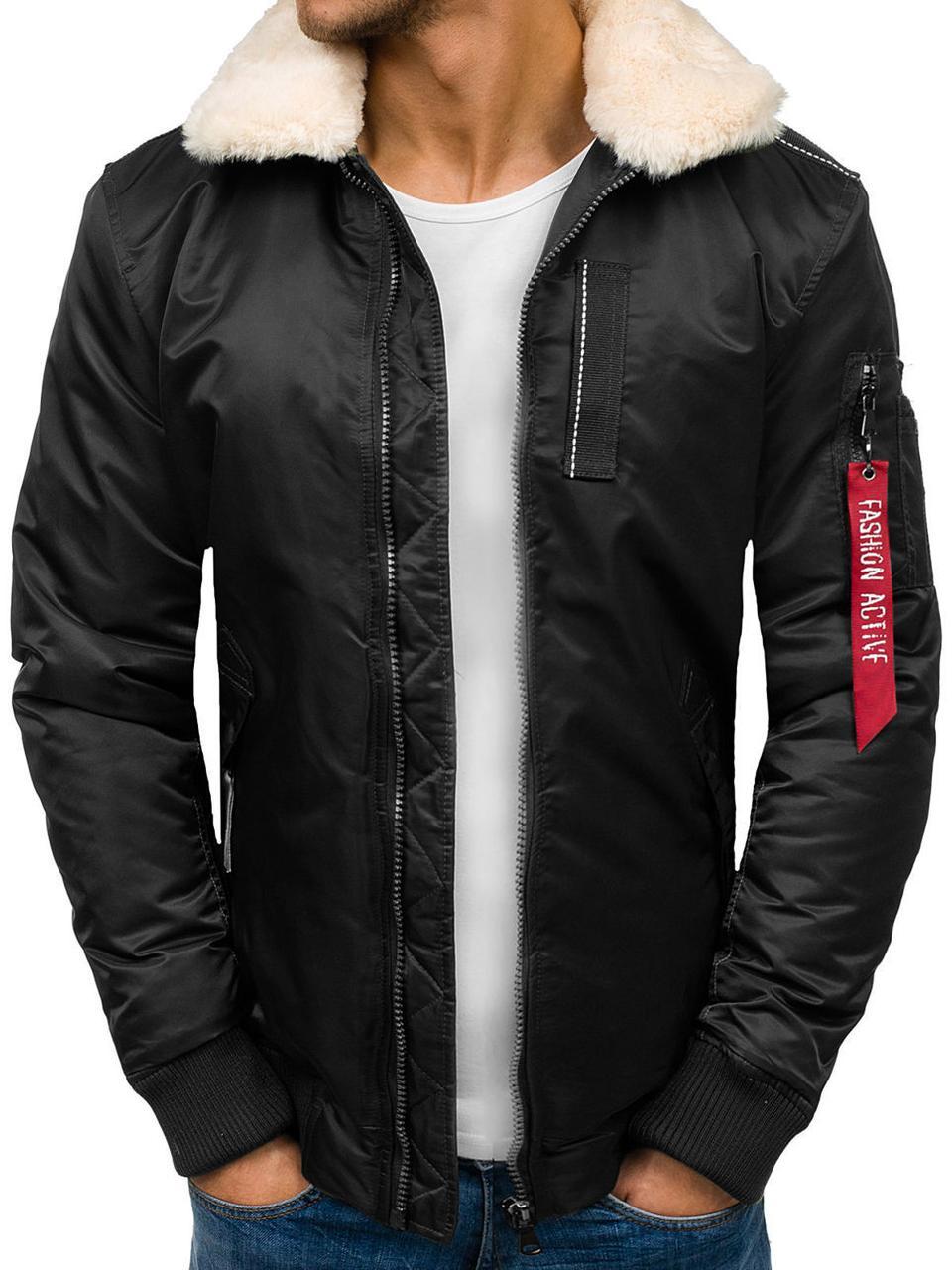 Мужская черная зимняя куртка пилот бомбер