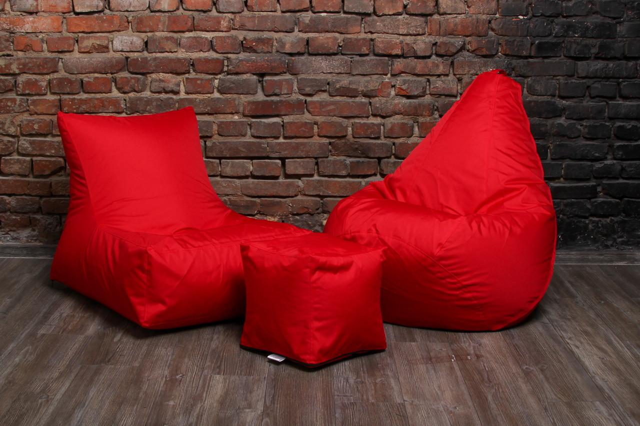 Кресло мешок груша пуф (набор) Красный