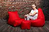 Кресло мешок груша пуф (набор) Красный, фото 6