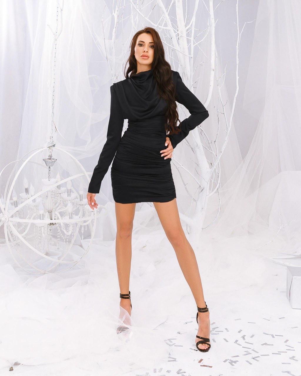 """Нарядное женское платье мини """"драпировка""""   AniTi  555, черный"""