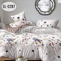 """Двуспальный комплект постельного белья из бязь голд люкс """"Цветные звезды 180х215"""