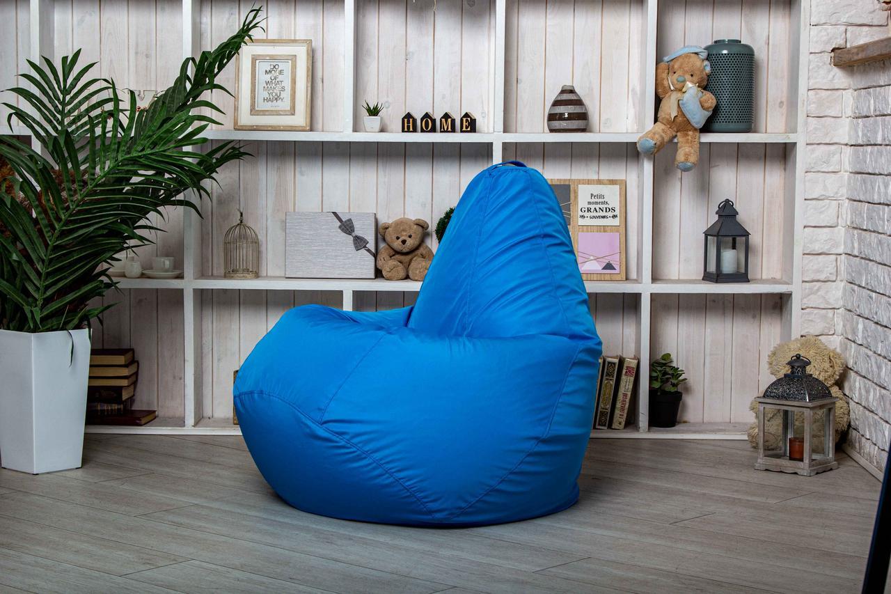 Светло-голубое Бескаркасное Кресло мешок груша пуфик  XL (120х75)