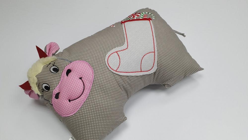 Подушка-игрушка Коровка, горошек (Декоративная)