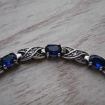 Серебряный женский браслет с синими фианитами, 180мм, фото 3