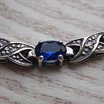 Серебряный женский браслет с синими фианитами, 180мм, фото 2