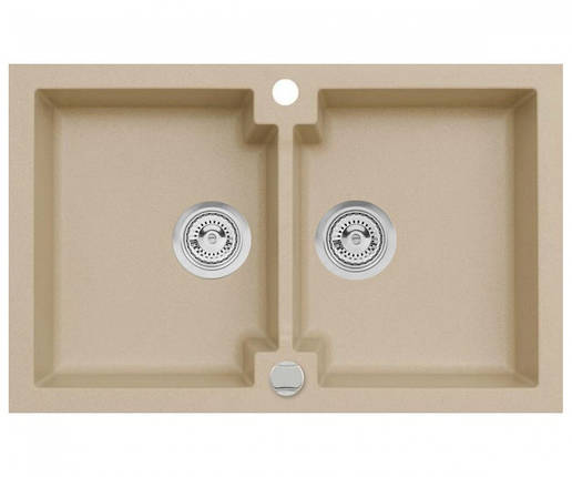 Подвійна кухонна мийка з клапаном AXIS HONEST, бежева, 1.147.120.20, фото 2
