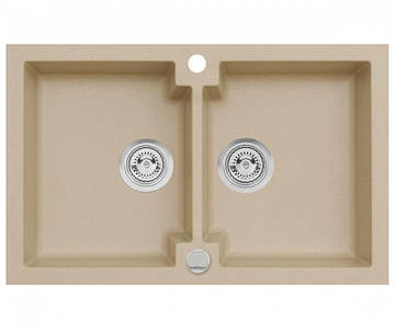 Подвійна кухонна мийка з клапаном AXIS HONEST, бежева, 1.147.120.20