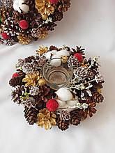 Рождественский  подсвечник из натуральных шишек и хлопка, новогодний декор