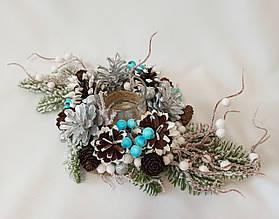 Рождественский  подсвечник из натуральных шишек, новогодний декор