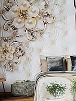 Фотообои виниловые на флизелине крупные цветы бежевые 3д