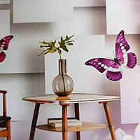 Фотообои виниловые на флизелине цветы бабочки геометрия 3д розовые сиреневые белые