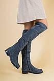 Женские зимние серые замшевые ботфорты, фото 3