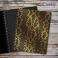 """Блокнот для рисования, скетчбук черный с золотым декором с черной бумагой """"SNAKE SKIN"""""""