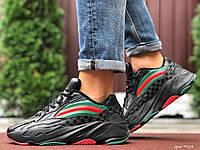 Мужские кожаные кроссовки Adidas Gucci чёрные, фото 1