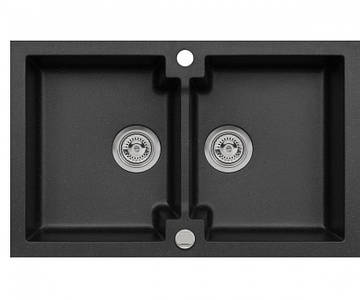 Кухонна мийка з клапаном AXIS HONEST, чорна, 1.147.120.10