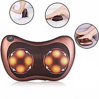 Масажер подушка Aogfy AGF-808 4 ролика (Brown)   Масажна подушка для шиї і спини, фото 5
