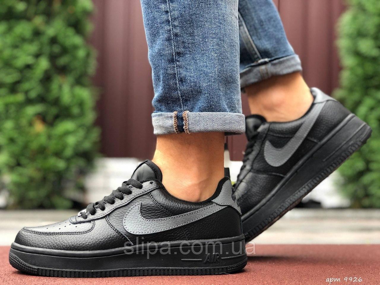 Чоловічі шкіряні зимові кросівки Nike Air Force чорні з сірим лого