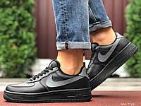 Чоловічі шкіряні зимові кросівки Nike Air Force чорні з сірим лого, фото 1