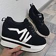 Женские сникерсы кроссовки на платформе, черные, р.36-41, фото 2