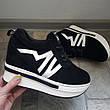 Женские сникерсы кроссовки на платформе, черные, р.36-41, фото 5