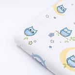 """Фланель дитяча """"Блакитні совушки на місяці"""" фон - білий, ширина 240 см, фото 7"""