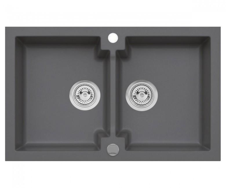 Подвійна кухонна мийка з клапаном AXIS HONEST, сіра, 1.147.120.59
