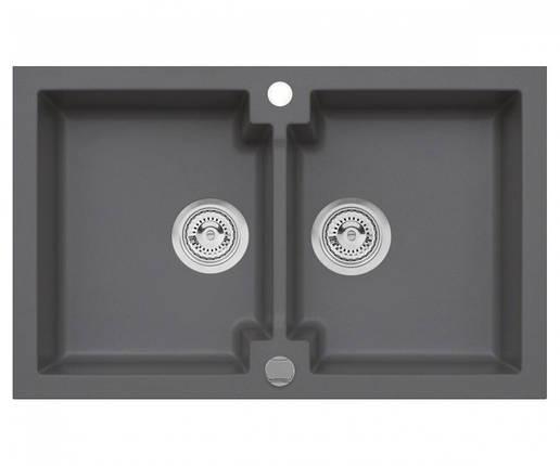 Подвійна кухонна мийка з клапаном AXIS HONEST, сіра, 1.147.120.59, фото 2