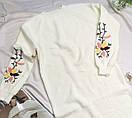 Женское теплое вязаное платье с вышивкой белое, фото 2