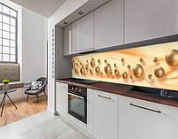 Кухонный фартук жемчуг, абстракция, волны и шары, бежевые сферы, бежевые шары 3D Самоклейка 60 x 200 см