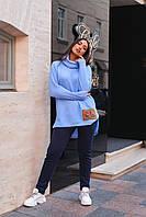 Утепленный женский костюм из вязки-травки с блеском и трехнитки на флисе Размеры 48-54