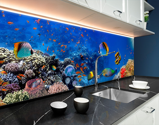 Фартук для кухни водный мир, рыбки, море, корралы Самоклейка 60 x 200 см