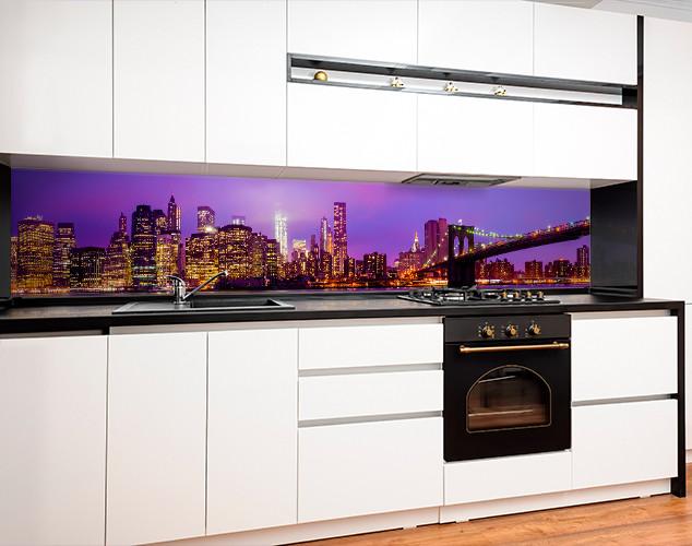 Фартук для кухни ночной город, мост, архитектура Самоклейка 60 x 200 см