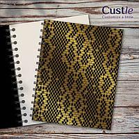 """Блокнот для рисования, скетчбук черный, декорированный золотом с белой бумагой """"SNAKE SKIN"""""""