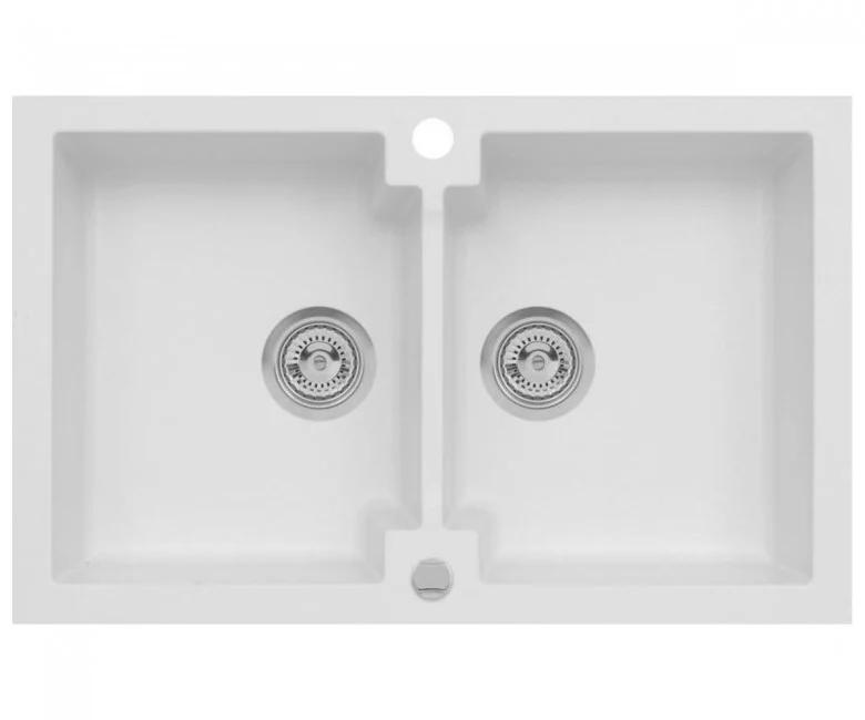 Подвійна кухонна мийка з клапаном AXIS HONEST, біла, 1.147.120.08