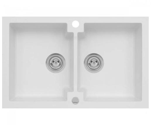 Подвійна кухонна мийка з клапаном AXIS HONEST, біла, 1.147.120.08, фото 2