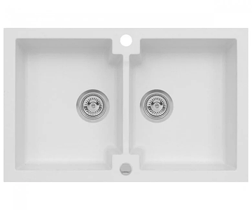 Кухонна мийка з клапаном AXIS HONEST, біла, 1.147.120.08