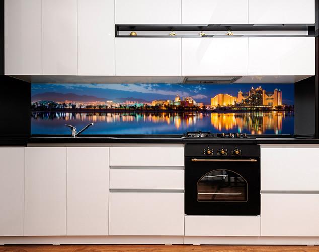 Кухонный фартук с полноцветной фотопечатью ночной город в отражении, закат, архитектура Самоклейка 60 x 200 см