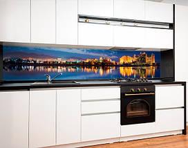 Кухонный фартук с полноцветной фотопечатью ночной город в отражении, закат, архитектура Самоклейка 60 x 200 см, фото 3