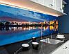 Кухонный фартук с полноцветной фотопечатью ночной город в отражении, закат, архитектура Самоклейка 60 x 200 см, фото 2