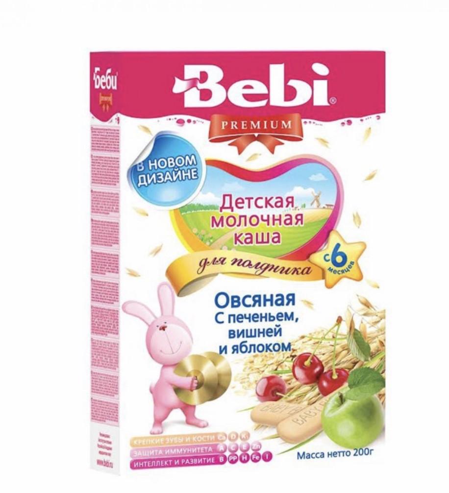 Молочная Овсяная каша для полдника Печенье с вишней и яблок Bebi Premium (Беби Премиум) с 6 месяцев , 200 г