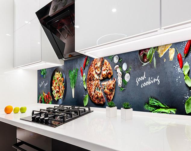 Скинали с фотоизображением Итальянская еда, пицца, паста, овощи Самоклейка 60 x 200 см