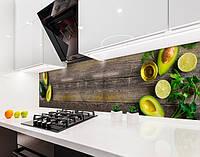 Кухонный фартук авокадо, лайм, фрукты на доске (наклейка для кухни) Самоклейка 60 x 200 см
