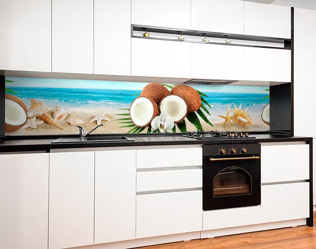 Кухонный фартук с полноцветной фотопечатью кокосы, тропический пляж, ракушки, океан Самоклейка 60 x 200 см