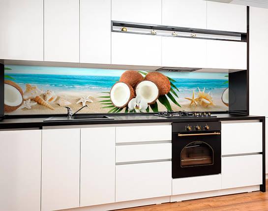 Кухонный фартук с полноцветной фотопечатью кокосы, тропический пляж, ракушки, океан Самоклейка 60 x 200 см, фото 2