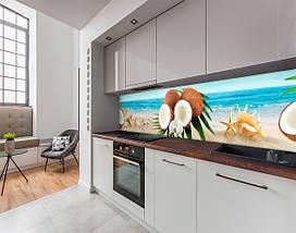 Кухонный фартук с полноцветной фотопечатью кокосы, тропический пляж, ракушки, океан Самоклейка 60 x 200 см, фото 3